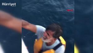 Marmaranın ortasında kanosuna sarılmış yardım bekliyordu; deniz otobüsüyle kurtarıldı