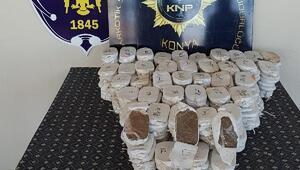 Konyada durdurulan iki otomobilde 58 kilo esrar ele geçirildi: 4 gözaltı
