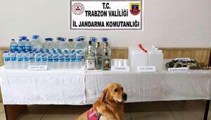 Trabzonda jandarmadan operasyon Çok miktarda sahte içki ele geçirildi
