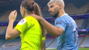 Sergio Agüerodan kadın hakeme olay hareket İngiltere bunu konuşuyor...