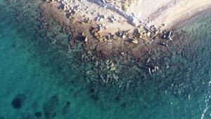 Denizdeki 2 bin yıllık granit sütunlar ilgi görüyor