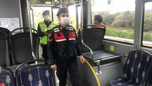 Jandarmadan şehir içi ve şehirlerarası otobüslerde koronavirüs denetimi