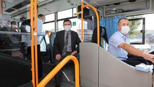Vali Arslantaş, halk otobüslerini denetledi