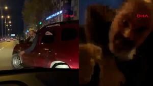 Avcılarda, önünü kestiği sürücünün aracını yumrukladı