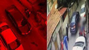 Beyoğlunda iki aile arasında çıkan silahlı çatışma kamerada