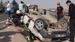 Aksarayda TIRa çarpan otomobil takla attı; aynı aileden 2si çocuk 4 kişi yaralı