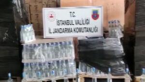 İstanbulda jandarmadan 2,5 tonluk sahte içki baskını