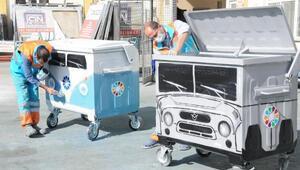 Çöp kutuları çocuklar için boyandı