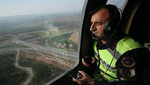 Kuzey Marmara Otoyolunda helikopter destekli trafik denetimi