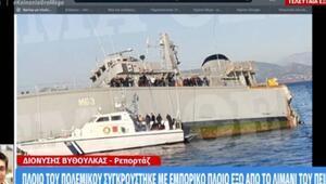 Son dakika: Yunanistanda donanma ve konteyner gemileri çarpıştı, donanma gemisi battı