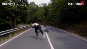 Şiledeki motosiklet kazası saniye saniye kamerada