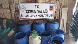 Çorumda 2 bin 653 litre kaçak içki ele geçirildi