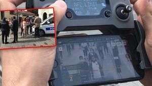 Son dakika haberi: Taksimde koronavirüs denetimi görüntülendi... Drone tespit etti polis ceza uyguladı