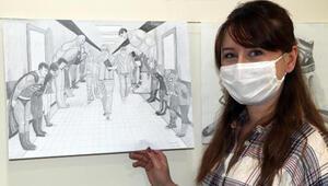 Koronayı yenen hemşireden kara kalem sağlık kahramanları çizimi