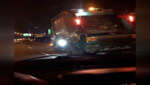 Başakşehirde çöp kamyonunun tehlikeli yolculuğu kamerada