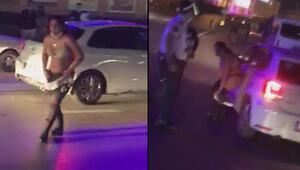 Son dakika haberleri... Akılalmaz olay Caddede soyundular, trafiği birbirine kattılar