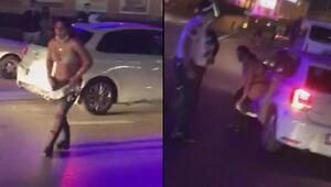 Güngörende hırsızlık şüphelisi kadınlar caddede soyundu, trafiği birbirine kattı