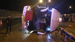 Gaziantepte yolcu otobüsü devrildi: 12 yaralı