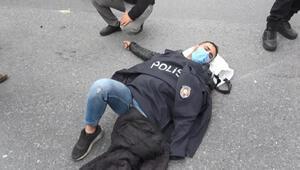 Esenyurtta polis kaza yapan kişinin üzerine montunu örttü