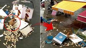 Son dakika haberler: İzmirdeki depremde Tsunamiye kapılan köpeğin yaşam mücadelesi kamerada