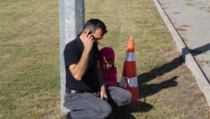 Kazada korkan küçük kız ve babası şoku atlatamadı