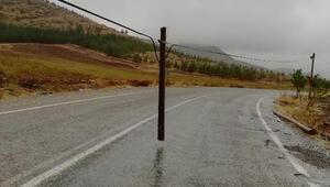 Kırılan ağaç telefon direği, karayolunun ortasında havada asılı kaldı