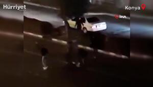 Yer Konya... Yol ortasında tekme tokat dövdüler