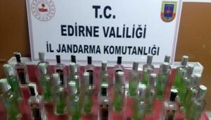 Edirnede 30 şişe kaçak içki ele geçirildi