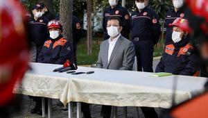 İstanbul Büyükşehir Belediye Başkanı İmamoğlu, koronavirüs tedavisi sonrası ilk ziyaretini İstanbul itfaiyesine yaptı