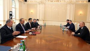 Azerbaycanda kritik zirve Aliyev, Bakan Çavuşoğlu ve Akarı kabul etti