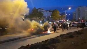 Sultanbeylide taksi alev alev yandı