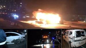 Esenyurtta zincirleme kaza: Otomobil yandı