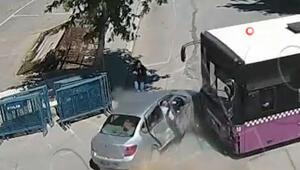 Halk otobüsü ile otomobil çarpıştı, genç kadın feci kazadan böyle kurtuldu