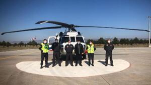 Jandarmadan helikopterle trafik denetimi