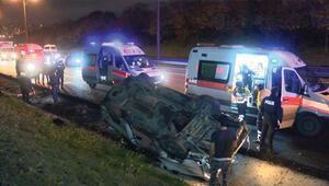 TEM Otoyolu'nda minibüs takla attı: 2 ağır yaralı