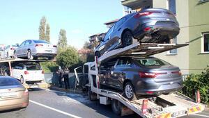 Sarıyerde toplu araç taşıma kamyonları çarpıştı