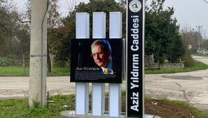 Fenerbahçe eski başkanı Aziz Yıldırımın adının verildiği Düzcedeki caddeye tabela asıldı