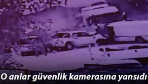 Kamyonet 11 araca çarptı o anlar güvenlik kamerasına yansıdı