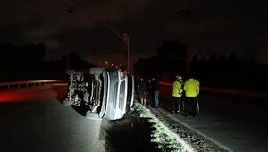 İşçi servis minibüsü devrildi: Yaralılar var