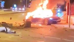 Ataşehirde kaza yapan lüks otomobil alev alev yandı