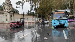 Son dakika... Dolmabahçede otomobil otobüsle çarpıştı