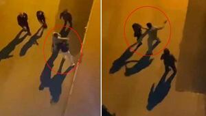 Kan donduran görüntüler Yol ortasında 2 kadını tokatlayıp kaçırmak istedi