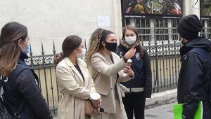 İstiklal Caddesi'nde maske ve sigara denetimi