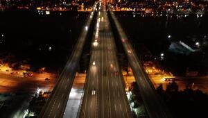 Kısıtlamanın ilk dakikalarında Haliç Köprüsü havadan görüntülendi