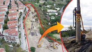Son dakika haberler... Avcılar'daki yer kayması böyle engellenecek 30 metre uzunluğunda 736 beton kazıklı önlem