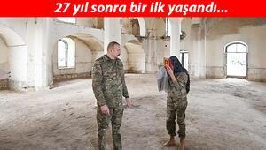 Son dakika: Aliyev çiftinden Ermenilere tarihi ders.. Bu kare ile duyurdular.. Tahrip edilen camiden dikkat çeken kareler