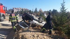 Karabükte otomobil, takla attı: 2 yaralı