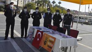 Marmariste polis ve jandarma şiddete karşı uyarı broşürü dağıttı