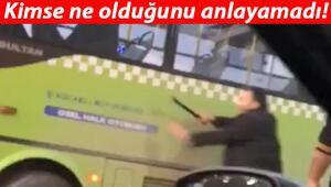 Trafikte dehşet Copla saldırdı...