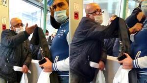 Tramvayda maske için uyaran kişiye Neyin peşindesin diye bağırdı